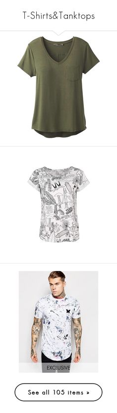 """""""T-Shirts&Tanktops"""" by fngrlknd on Polyvore featuring tops, t-shirts, shirts, cargo green, pocket shirts, v neck pocket t shirts, green t shirt, pocket tees, lightweight t shirts und yeahbunny"""