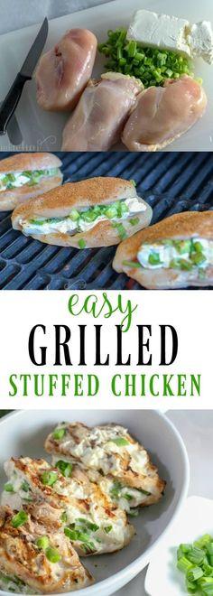 Easy Smokey Cream Cheese and Onion Stuffed Chicken Recipe #stuffedchickenbreast #stuffedchicken #chickenrecipe #grilledchicken