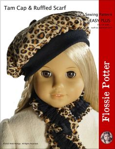 "Tam Cap & Ruffled Scarf 18"" Doll Clothes $3.99"