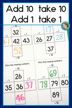 Add 10 subtract 10 add 1 subtract 1 math center for first grade common core Practice addition and su Addition Flashcards, Addition And Subtraction Worksheets, Kindergarten Math Worksheets, Kindergarten Lessons, Math Resources, Math Lessons, Math Activities, 1st Grade Math, First Grade