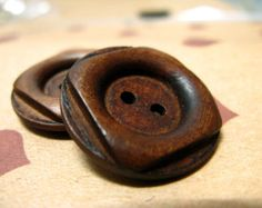 Wooden Buttons - Antiqued Square and Round Cascading Recessed Center Brown Wooden Buttons, 1 inch (10 in a set)