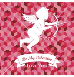 Valentines day card vector cupid by alien-tz on VectorStock®
