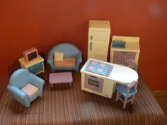 Rare Complete Euc 1994 Vintage Little Tikes Barbie Size Dollhouse Furniture