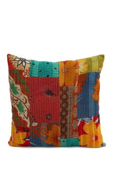 "Karma Living Multicolor 18"" Kantha Pillow Cover"