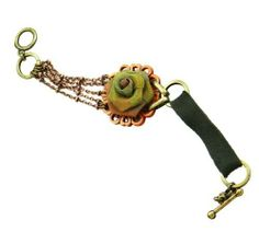 """Soulfully Worn Green Organza Rose Toggle Charm Bracelet Bracelets By Stylephyle. Save 10 Off!. $26.95. NEW """"Soulfully Worn"""" collection by Global & Vine. Designer Collection by Kelli Ahern. 8.25"""" long with adjustabe double toggle rings. Trendy multichain & leather strap bracelet with beautiful organza rose"""