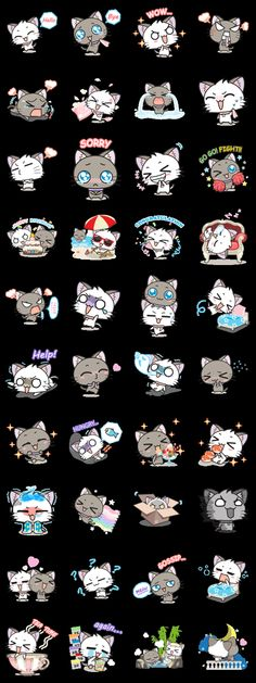 画像 - Hoshi & Luna Diary 2 by Zirius Studio - Line. Chat Kawaii, Kawaii Cat, Kawaii Chibi, Cute Chibi, Kawaii Anime, Chibi Cat, Anime Chibi, Kawaii Stickers, Cute Stickers