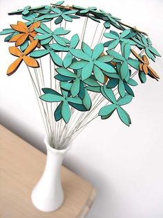 wood flowers set of EIGHTEEN choose from aqua by uncommon