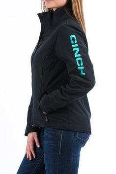 Cinch Women's Black Turquoise Bonded Concealed Carry Jacket (Can I please have this plz? Cute Cowgirl Outfits, Country Style Outfits, Rodeo Outfits, Country Dresses, Equestrian Outfits, Western Outfits, Concert Outfits, Ariat Clothing, Skirt Fashion