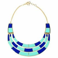 """Perfect for a party or afternoon on the town, this striking statement necklace showcases a 2-tone color-block bib in turquoise and blue lapis.   Product: NecklaceConstruction Material: Brass and enamelColor: Turquoise and lapisDimensions: 17-19"""" Chain"""