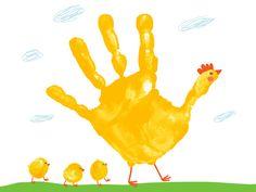 påskpyssel handavtryck kyckling måla gul barn