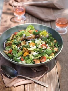 Fattoush Salad: with feta and pita. Dressing is a favorite ( used zaatar instead of sumac)