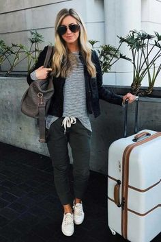 Airplane Outfits 33 airplane outfits ideas how to travel in style casual Airplane Outfits. Here is Airplane Outfits for you. Airplane Outfits 33 airplane outfits ideas how to travel in style airplane. Casual Travel Outfit, Travel Outfit Summer, Summer Outfits, Casual Outfits, Fashion Outfits, Cute Travel Outfits, Traveling Outfits, Sporty Fashion, Womens Fashion
