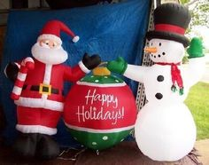 PROTOTYPE GEMMY AIRBLOWN INFLATABLE CHRISTMAS SANTA SNOWMAN ORNAMENT