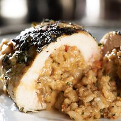 Risotto-Stuffed Grilled Chicken Breasts Recipe by David V - Key Ingredient Grilled Chicken Breast Recipes, Chicken Recipes, Chicken Meals, Love Food, A Food, Risotto, White Rice Recipes, Longest Recipe, Chicken Breasts