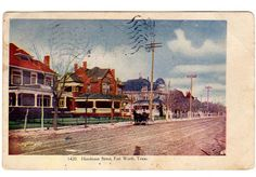 Vintage Postcard Fort Worth Texas Henderson Street 1910s Town View Houses
