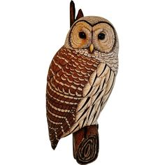 This wonderful example of a barred owl carved from Tupelo wood was done by contemporary New Hampshire bird carver and sculptor Tim McEachern, member
