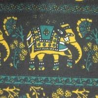 Teal Indian Elephant on Black Cotton/Spandex Jersey