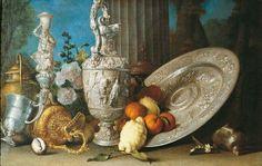 Meiffren Conte (ou Comte) (v.1630-1705) - Nature morte au flambeau d'Hercule, à l'aiguière et au plat d'argent – Collection particulière