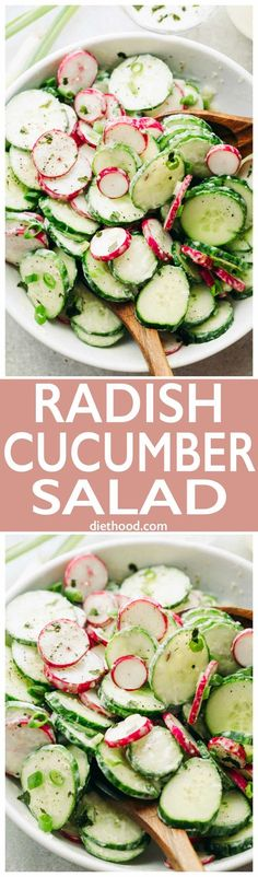 Radish and Cucumber Salad with Garlic-Yogurt Dressing: Deliciously crunchy slices of cucumbers and radishes tossed with a creamy and garlicky yogurt dressing. via @diethood