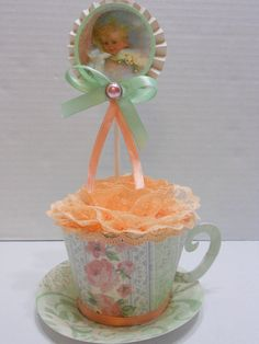 Vintage Baby Shower party centerpiece  Spring by Sharingsister, $12.00