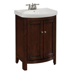 Shop allen + roth 23-3/4-in Cherry Sable Moravia Single Sink Bathroom Vanity with Top at Lowes.com