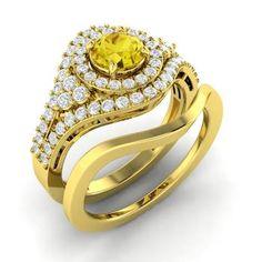 Round Yellow Diamond Ring in 14k Yellow Gold with VS Diamond
