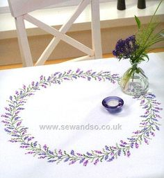 Lavender Ring Stamped Cross Stitch Tablecloth - 90 x 90cm
