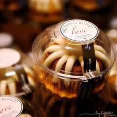 """Are these not the cutest favors ever! Little bundt cakes that say """"Nothing Bundt Love""""! Such an adorable idea! Wedding Favors, Wedding Cakes, Wedding Ideas, Nothing Bundt Cakes, Cake Quotes, Frozen Chocolate, Bunt Cakes, Rum Cake, Salty Cake"""