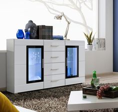 SB Killeen - white contemporary dresser / bedroom white chest of drawers Dining Room Sideboard, White Sideboard, Sideboard Cabinet, Modern Chest Of Drawers, Modern Dresser, Cheap Black Dresser, Small Fitted Wardrobes, Commode Design, Modern Tv Units