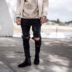 Cool Trending Men's Distressed Ripped Skinny Jeans With Holes