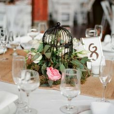 Birdcage Centerpiece // photo by: Krystle Akin Photography // Centerpieces: Red Sole Events