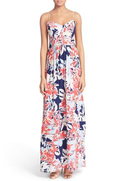 On trend for spring: floral maxi dresses.