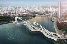 ロンドンのテムズ川に架かる新しい橋の設計コンペが行われており、このほど野心的な応募作品が公開された。自動車道路ではなく、歩道と自転車用道路が設置される橋だ。