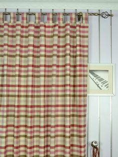 Extra Wide Hudson Middle Check Tab Top Curtains 100 - 120 Inch Curtain Panels | Cheery Curtains: Ready Made and Custom Made Curtains For Less