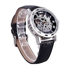 ZytreeTM Winner Classic Skeleton Dial Hand Winding Mechanical Sport Army Watches Men Hollow Transparent Dial Leather Band Strap Watch ** Amazon most trusted e-retailer