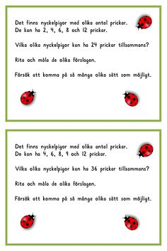 nyckelpigor 2 Learn Swedish, Swedish Language, Math Word Problems, Future Jobs, Mathematics, Good To Know, Elementary Schools, Teaching, Education