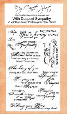 SYMPATHY Sentiments on Clear Stamps