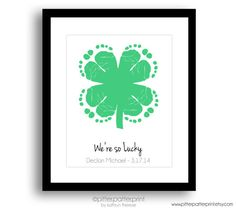 St Patricks Day Baby Footprint Four Leaf Clover 8x10 inch Art Print, Personalized So Lucky Kids Green Decor, Babys first St Patricks Day