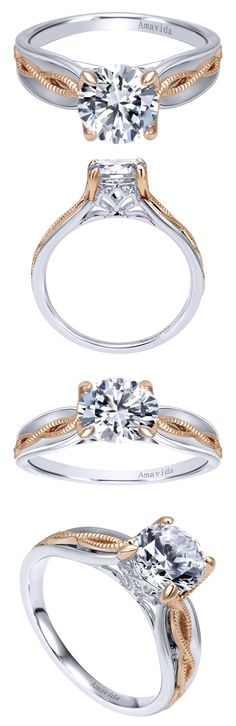 An 18k White and Pink Gold Contemporary Straight Engagement Ring from the Amavida Bridal Collection by Gabriel & Co. This beautiful engagement ring's 18k Pink Gold metal makes the 18k White metal and perfect diamonds stand out and pop!