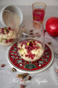 Rose and pistachio Moroccan rice pudding.