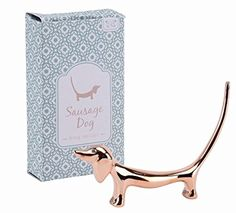 Jewellery Ring Holder, Rose Gold Finish Organiser Stand - Gift Boxed … (Sausage Dog)