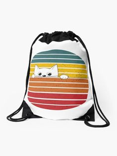 Are You Kitten Me Right Meow Drawstring Bag.  A retro distressed grunge sunset design for cat lovers.  A cute and funny kitten face peering over.  #cats #catlover #kitten #meow #ilovemycat #grunge #retro #kittycat #giftideas #fashion #homedecor #artsandcrafts #stickers #redbubblestickers #redbubble #art #ad @giftsbyminuet Red Bubble Stickers, Right Meow, Drawstring Backpack, Cat Lovers, Kitten, Arts And Crafts, Retro, Cats, Funny