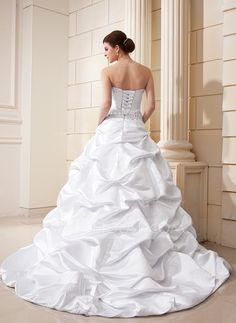 Ball-Gown Sweetheart Court Train Satin Wedding Dress With Ruffle Beading Appliques Lace Sequins (002012635) - JJsHouse