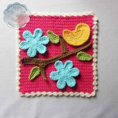 Bird and Flower Applique Set and Afghan Block - Free Pattern by Creative Crochet Workshop for The Stitchin' Mommy | www.thestitchinmommy.com