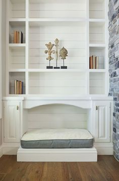 Built-in Shiplap Shelving Unit Dog Bed Bookshelves Built In, Built Ins, Farmhouse Dog Beds, Built In Dog Bed, Dog Feeding Station, Dog Playpen, Dog Spaces, Dog Beds For Small Dogs, Crate Furniture