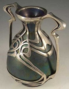 Zsolnay Art Nouveau Pewter Mounted Ceramic Vase