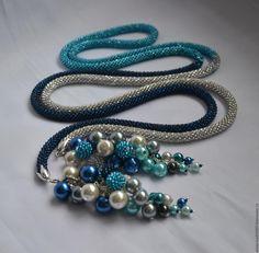 """Купить Лариат """"Морская пена"""" со съемными подвесками - комбинированный, бирюзовый цвет, синий цвет"""