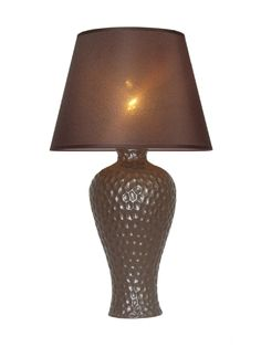 Simple Designs Brown Texturized Curvy Ceramic Table Lamp
