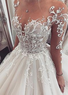 Chic Tulle Jewel Neckline Ball Gown Wedding Dresses With Lace Applique.Chic Tulle Jewel Neckline Ball Gown Wedding Dresses With Lace Applique… – ?Chic Tulle Jewel Neckline Ball Gown Wedding Dresses With Lace Appliques Beadings Source by – Lace Wedding Dress, Perfect Wedding Dress, Best Wedding Dresses, Bridal Dresses, Lace Dress, Bridesmaid Dresses, Tulle Wedding, Chic Dress, Vintage Wedding Gowns
