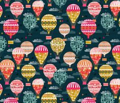 hot air balloons // smaller hot air balloon retro vintage flying machine fabric by andrea_lauren on Spoonflower - custom fabric